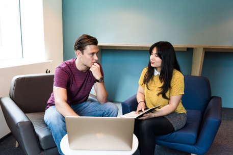 Two students in conversation