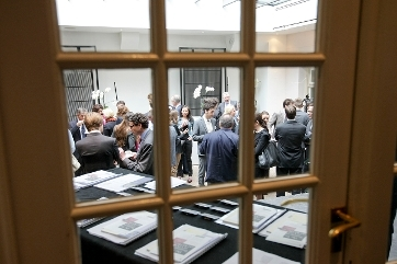 Conference behind a glass door